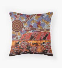 Uluru | Ayers Rock - Authentic Aboriginal Arts Throw Pillow