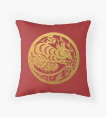 Chinese Zodiac Rat in Gold Throw Pillow