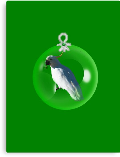 Aussi  X-mas  cockatoo Card (green ) stock up , get ready for Christmas ! by mandyemblow