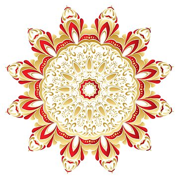 Floral Gold and Red Round Ornament  by AnnArtshock