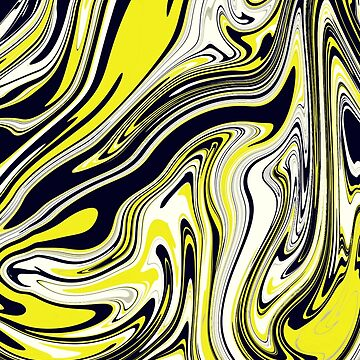 Modern Elegant Black Yellow Marble Background by MyArt23