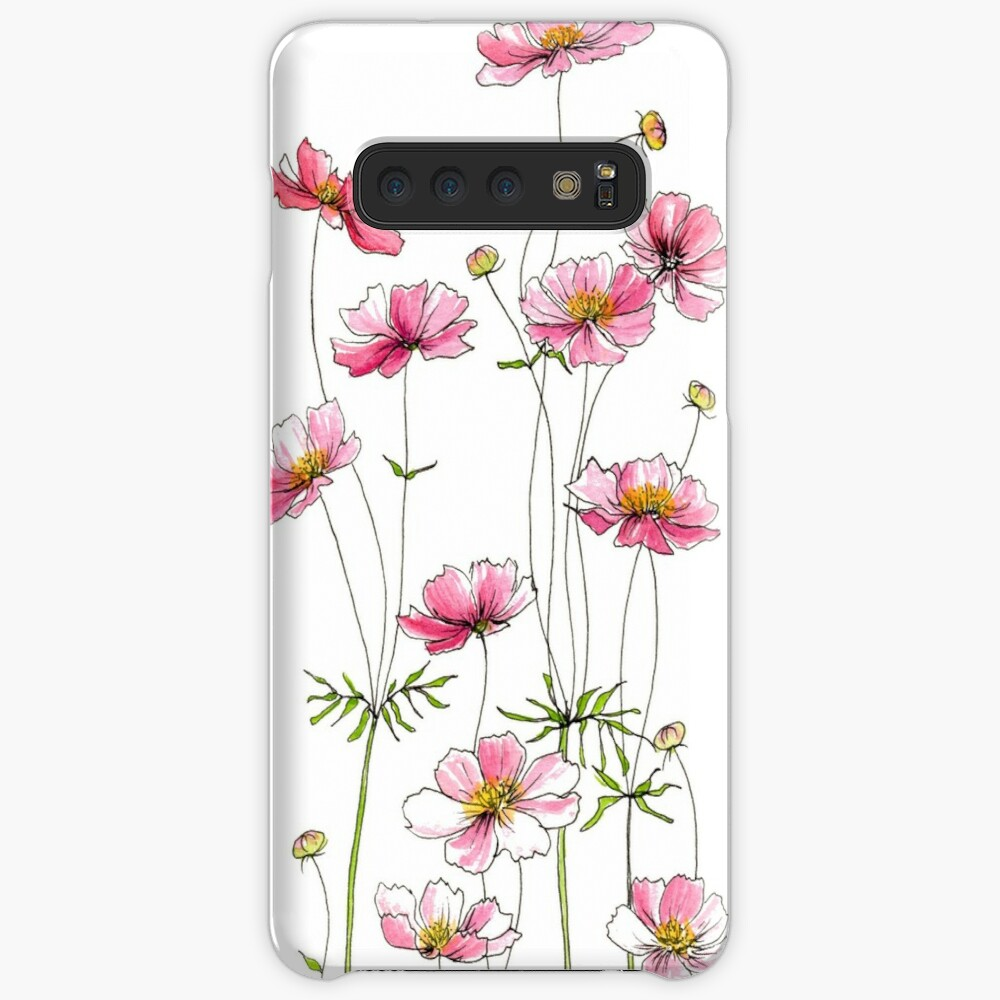 Pink Cosmos Flowers Case & Skin for Samsung Galaxy