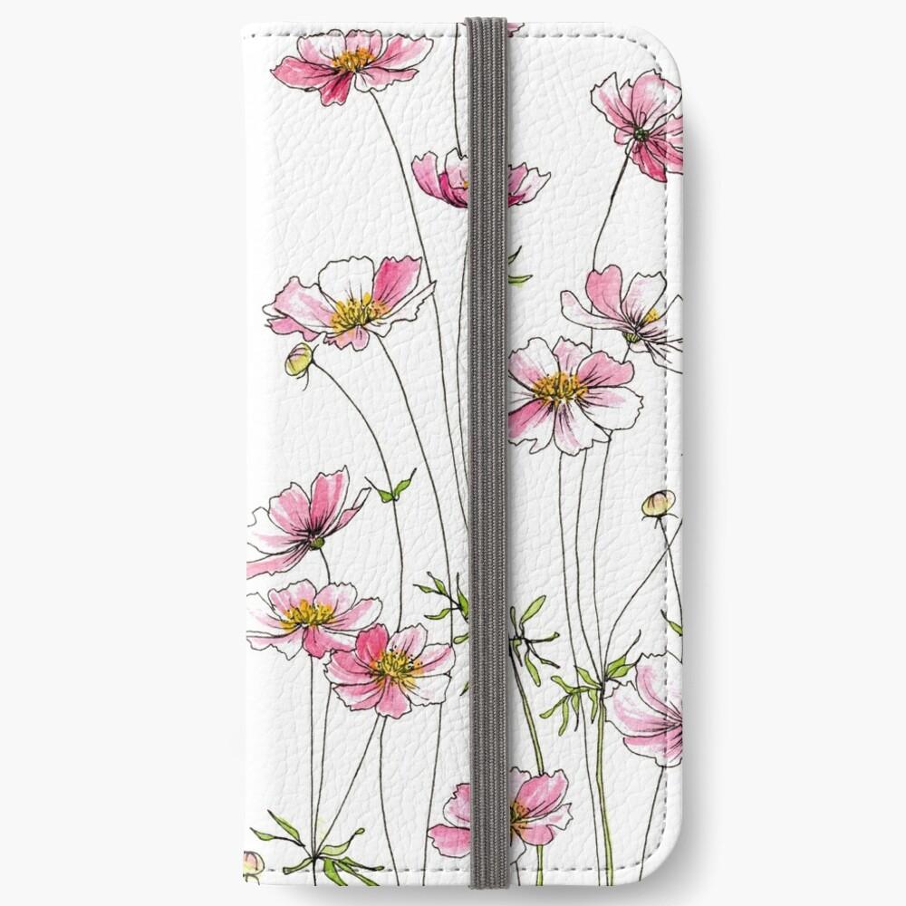 Pink Cosmos Flowers iPhone Wallet