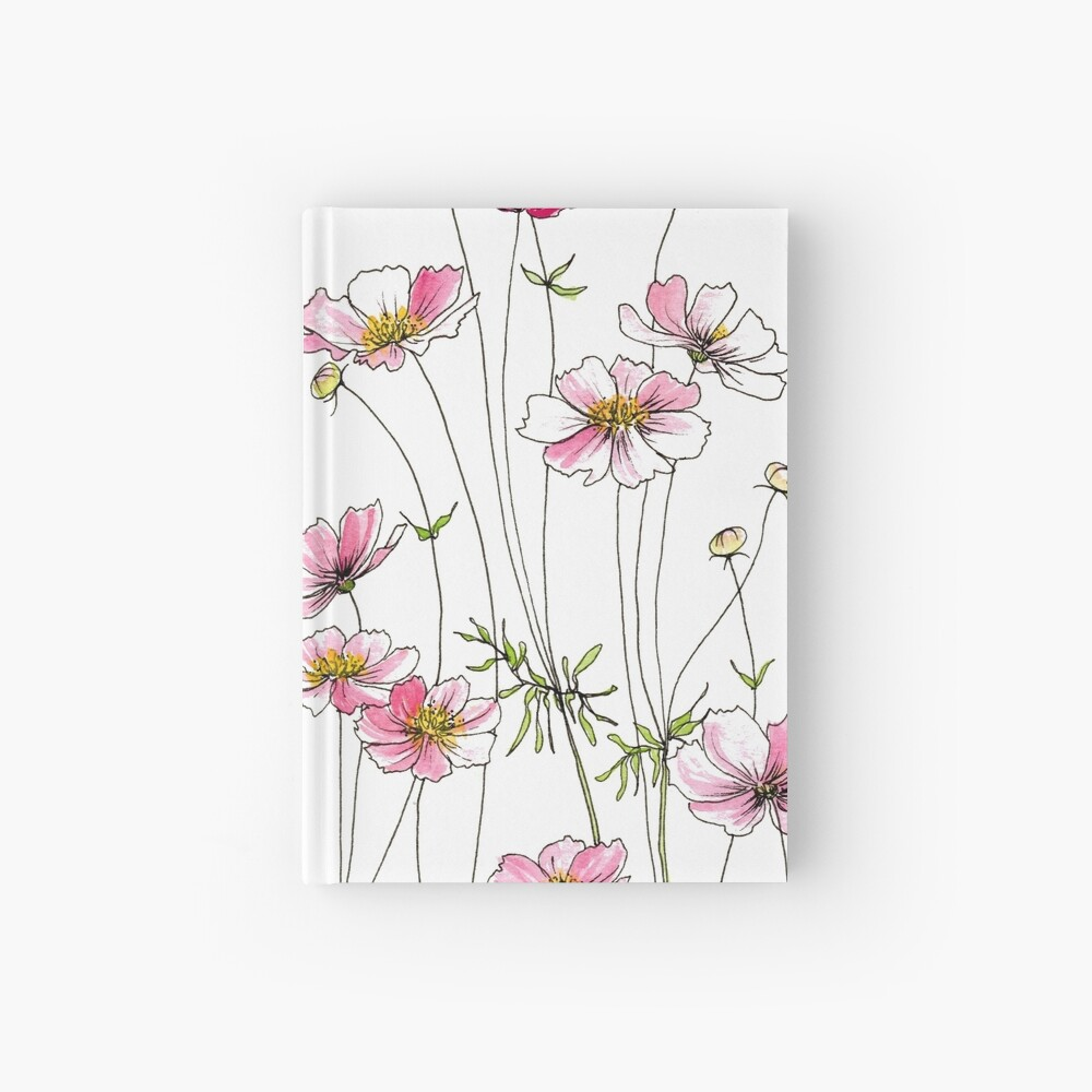 Pink Cosmos Flowers Hardcover Journal