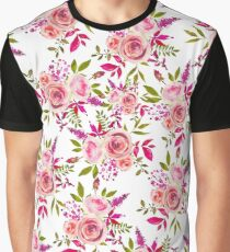 Elegant pink coral green watercolor roses pattern Graphic T-Shirt
