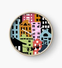 Night at the City Silhouette Buildings Clock