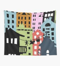 Night at the City Silhouette Buildings Wall Tapestry