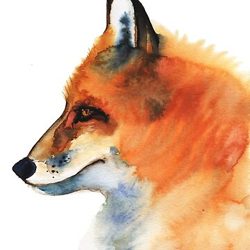 Watercolor illustration, portrait of fox by OlgaBerlet
