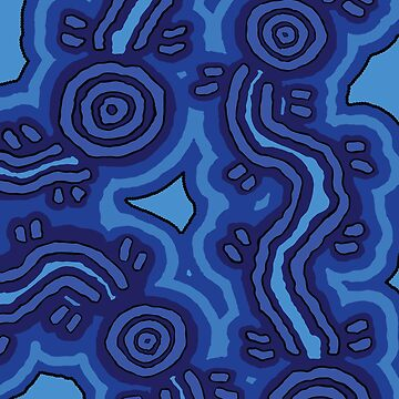 Aboriginal Art - Blue Campsites by HogarthArts