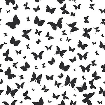 black butterflies silhouette pattern on white background by EkaterinaP