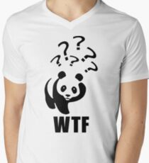 WTF Panda Funny Sayings Memes Quotes Men's V-Neck T-Shirt