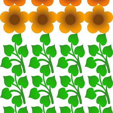 Flower Power - Orange Yellow  Pattern by Hopasholic