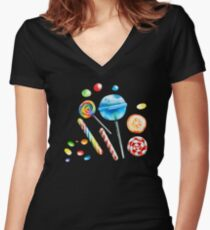 Chupa-chups, sweets, cute, lollipops, candy, beautiful, Women's Fitted V-Neck T-Shirt