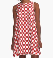 Red and white tablecloth pattern A-Line Dress