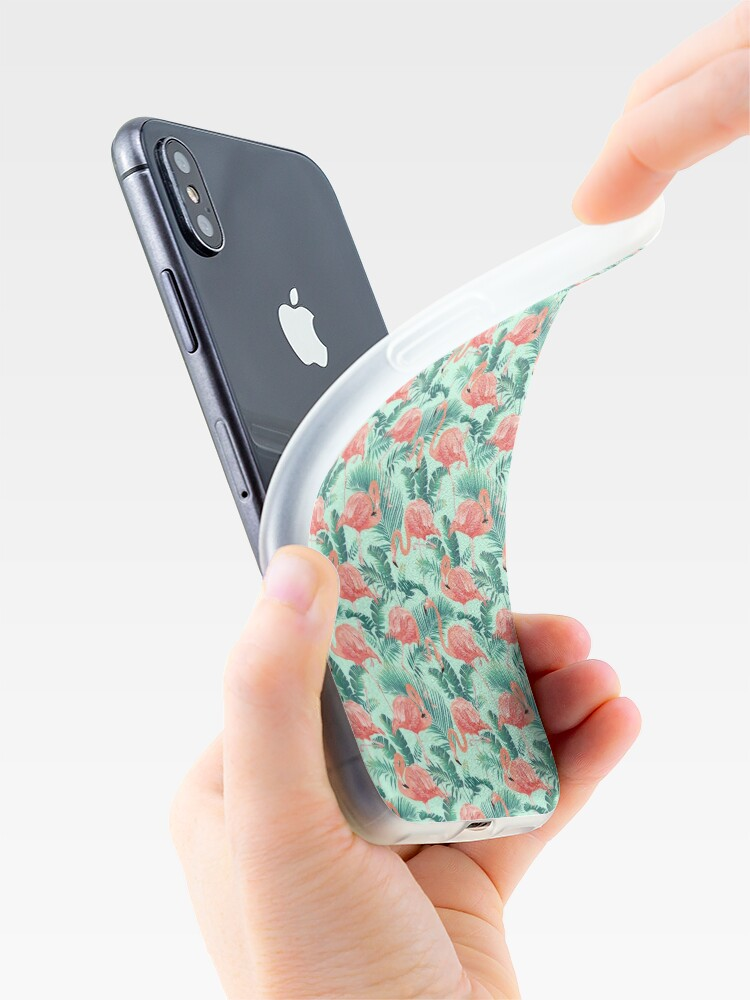Alternate view of Flamingo Bird Tropical Palm Pattern iPhone Case & Cover