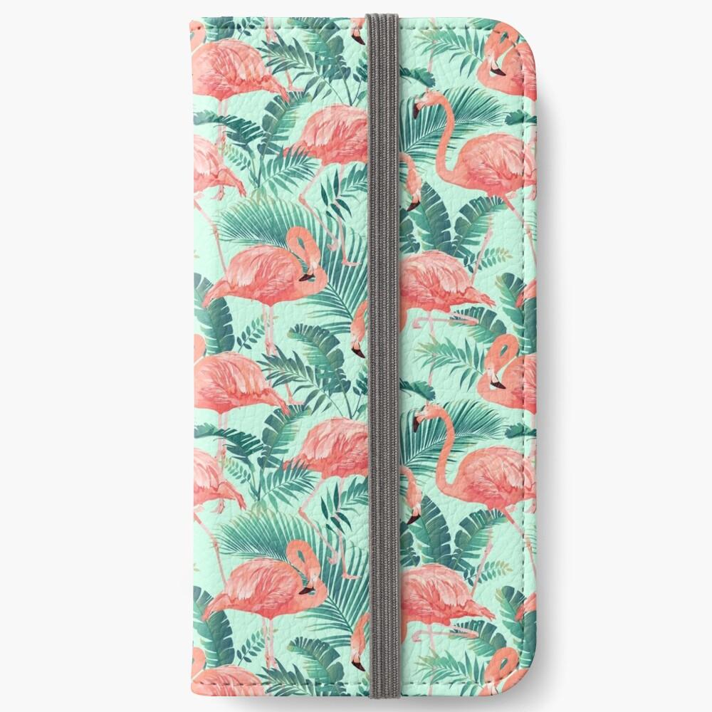 Flamingo Bird Tropical Palm Pattern iPhone Wallet