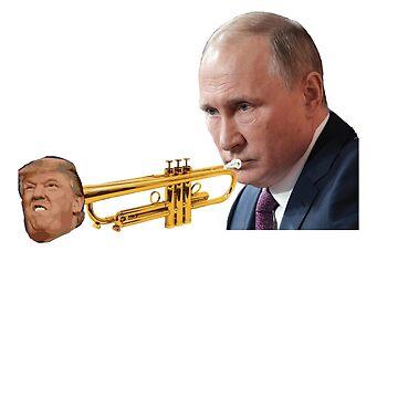 Putin playing Trump trumpet t-shirt by Kiraly