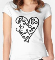 Love sisters with cute heart graphic Women's Fitted Scoop T-Shirt