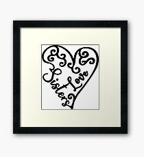 Love sisters with cute heart graphic Framed Print