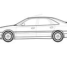Renault Safrane Classic Car Outline Artwork by RJWautographics