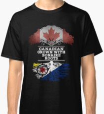 Canadian Grown With Bonaire Roots Gift For Bonaire From Bonaire - Bonaire Flag in Roots Classic T-Shirt