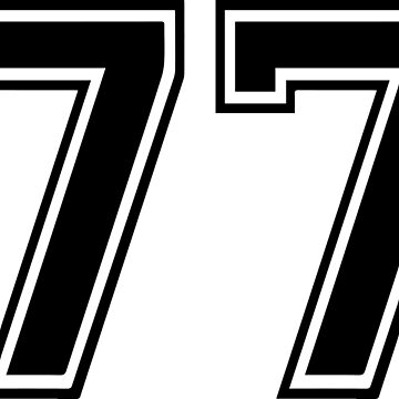 Varsity Black Number 77 Single | Black and white seventy seven number by igorsin