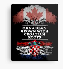 Canadian Grown With Croatian Roots Gift For Croatian From Croatia - Croatia Flag in Roots Metal Print