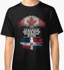 Canadian Grown With Dominican Republic Roots Gift For Dominican From Dominican Republic - Dominican Republic Flag in Roots Classic T-Shirt