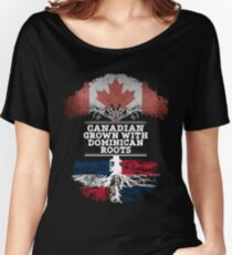 Canadian Grown With Dominican Republic Roots Gift For Dominican From Dominican Republic - Dominican Republic Flag in Roots Women's Relaxed Fit T-Shirt