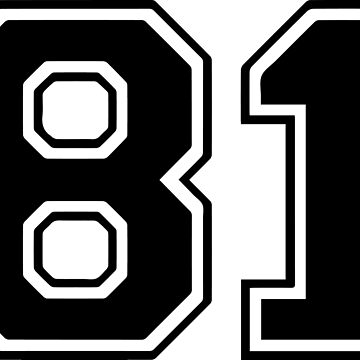 Varsity Black Number 81 Single | Black and white eighty one number by igorsin