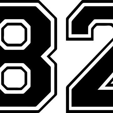Varsity Black Number 82 Single | Black and white eighty two number by igorsin