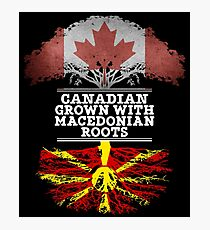 Canadian Grown With Macedonian Roots Gift For Macedonian From Macedonia - Macedonia Flag in Roots Photographic Print