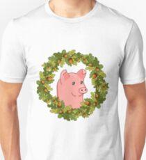 funny cute cartoon pig in a wreath of acorns Unisex T-Shirt