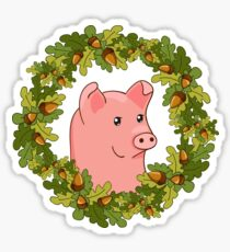 funny cute cartoon pig in a wreath of acorns Sticker