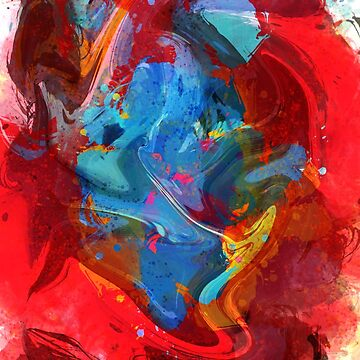 Abstract Life and Love Organic Art Red and Blue  by signorino