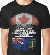 Canadian Grown With Virgin Islander Roots Gift For Virgin Islander From British Virgin Islands - British Virgin Islands Flag in Roots Graphic T-Shirt