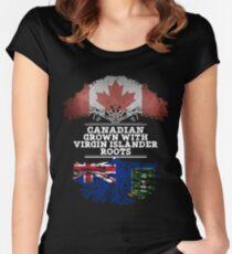 Canadian Grown With Virgin Islander Roots Gift For Virgin Islander From British Virgin Islands - British Virgin Islands Flag in Roots Women's Fitted Scoop T-Shirt