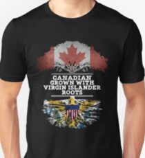 Canadian Grown With Virgin Islander Roots Gift For Virgin Islander From Us Virgin Islands - Us Virgin Islands Flag in Roots Unisex T-Shirt