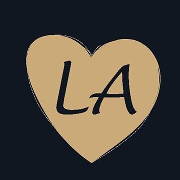 Black Gold Los Angeles Heart Gift LA Pride Soccer Football by DigitalNomadTee