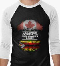 Kanadisches gewachsenes mit simbabwischem Wurzel-Geschenk für Simbabwe von Simbabwe - Simbabwe-Flagge in den Wurzeln Baseballshirt für Männer