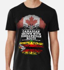 Kanadisches gewachsenes mit simbabwischem Wurzel-Geschenk für Simbabwe von Simbabwe - Simbabwe-Flagge in den Wurzeln Männer Premium T-Shirts