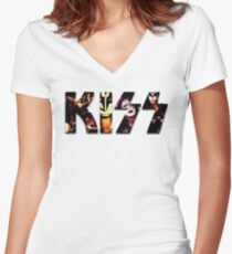 Kiss Band - Logo Women's Fitted V-Neck T-Shirt
