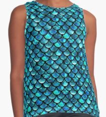Mermaid Scales - Turquoise Blue Contrast Tank