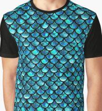 Camiseta gráfica Escamas de sirena - Azul turquesa