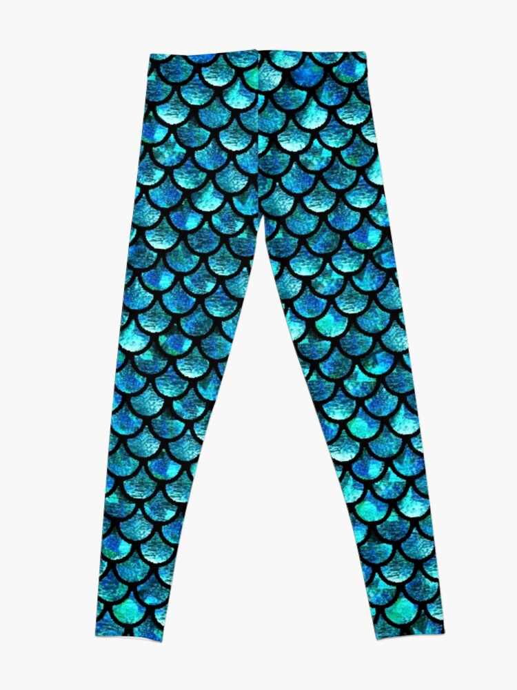 Alternate view of Mermaid Scales - Turquoise Blue Leggings