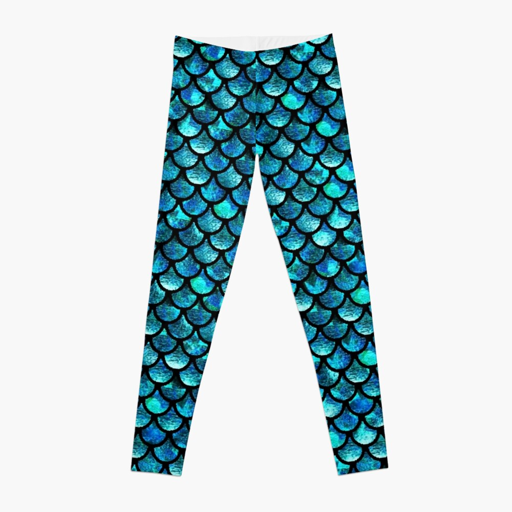 Mermaid Scales - Turquoise Blue Leggings