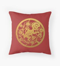 Chinese Zodiac Monkey in Gold Throw Pillow