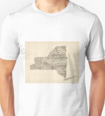Old Sheet Music Map of New York State Unisex T-Shirt