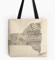 Old Sheet Music Map of New York State Tote Bag