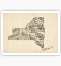 Old Sheet Music Map of New York State Sticker